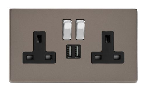 Varilight XDR5U2SBS Screwless Pewter 2 Gang Double 13A Switched Plug Socket 2.1A USB
